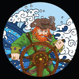 Round emblem with captain by wheel in storm Royalty Free Stock Photos