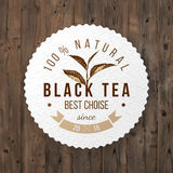 Round emblem with hand drawn tea leaf Royalty Free Stock Images