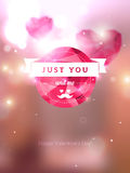 Round emblem in hipster style with mustache and. Vector illustration. Blurred background with lights. Valentine's day abstract background. Vintage invitation or Royalty Free Stock Images