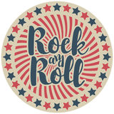 Round emblem with inscription rock and roll Royalty Free Stock Photography