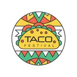 Round emblem with Mexican traditional street food. Taco festival concept. Abstract vector design for logo, badge, label. Round emblem with Mexican traditional Royalty Free Stock Image