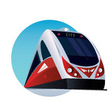 Round emblem with a modern passenger train Royalty Free Stock Image