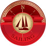 Round emblem with red ribbon for text and sailboat vector illustration