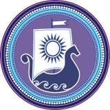 Round emblem with slavic boad und sun sail on white background. Vector illustration. Stock Image