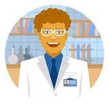 Round emblem smiling scientist in laboratory for making research Stock Photos