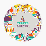Round emblem of travel agency. Traveling everywhere and anytime Royalty Free Stock Photos