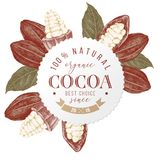 Round emblem with type design over cocoa beans and branches. Round emblem with type design 100 percent natural organic cocoa. Best choice. Sinc 2015 over hand Stock Illustration