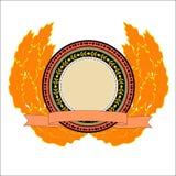 Round emblemat z liśćmi Obraz Stock