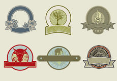 Round emblems with banners Royalty Free Stock Photos