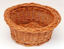 Round empty basket. With clipping path against white background royalty free stock images