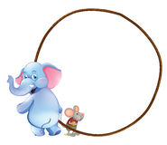 A round empty template with an elephant and a mouse Stock Photo