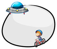 A round empty template with a flying saucer and a boy biking Stock Photos
