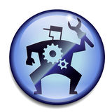 Engineer symbol in 3d. Round engineer icon isolated on light blue Stock Image