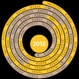 Round 2018 english  calendar Royalty Free Stock Photo