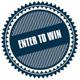 Round ENTER TO WIN blue sticker. Illustration image concept Stock Photo