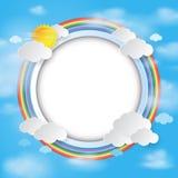 Round etykietka na chmury i nieba tle Zdjęcie Stock