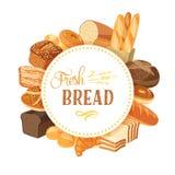 Round etykietka z chlebowym asortymentem: żyto, ciabatta, banatka, cała adra, bagel, pokrajać, francuski baguette, croissant i w  royalty ilustracja