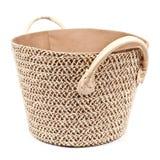 Round fabric storage basket on white Royalty Free Stock Photos