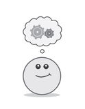 Round Face Thinking Gears Royalty Free Stock Photo