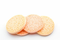 A round of facial sponge. Royalty Free Stock Images