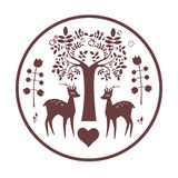 Round famtasy design with deer Royalty Free Stock Image