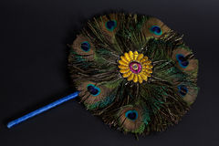 Round fan made of peacock feathers on black Stock Photo