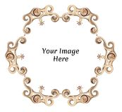 Round fantasy frame with floral and marine motifs. Hand drawn template design for image, photo and text. Rounded details, fancy abstract frame. Beige and brown vector illustration