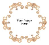Round fantasy frame with floral and marine motifs. Hand drawn template design for image, photo and text. Rounded details. Round fantasy frame with floral and vector illustration