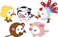 Round Farm Animals Stock Images