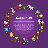 Round farm flat banners depicting life in countryside animals isolated vector illustration Stock Image
