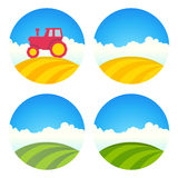 Round Farm Label with fields and Tractor vector illustration