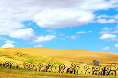 Round Fence Background. Vertical landscape of wheat fields and Old Wagon Wheel fence under puffy clouds and blue sky Stock Photography