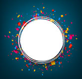 Round festive blue background. Round festive blue background with color confetti. Vector paper illustration Royalty Free Stock Photography