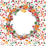 Round festive Christmas wreath with fruits Stock Photography