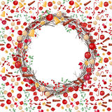 Round festive Christmas wreath with fruits Stock Photos