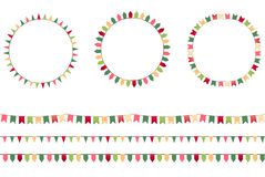 Round festive frames with flags, endless. Horizontal texture. Seamless pattern brushes Stock Image