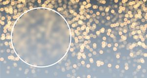 Gray and golden bokeh background. Round festive gray and golden bokeh background. Vector illustration Stock Photography