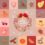 Round festive wreath with fruits, cookies, berries. Christmas objects. Royalty Free Stock Photos