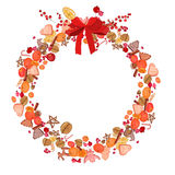 Round festive wreath with fruits, cookies, berries and leaves isolated on white. For season design, announcements, postcards, posters Stock Photos