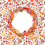 Round festive wreath with fruits, cookies. Berries and leaves.  For season design, announcements, postcards, posters Royalty Free Stock Image