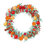 Round festive wreath with fruits, cookies, berries and leaves  on white. For season design, announcements, postcards, posters Stock Photos