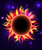 Round fiery frame with stars. Sun with place for text. Planet in universe. Vector element for your design Royalty Free Stock Image