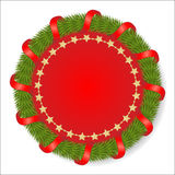 Round fir garland decorated with red ribbon Stock Images