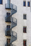 Round Fire Escape Stairs. Detail of fire escape stairs Royalty Free Stock Photo