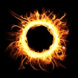 Round Fire frame on black background. Digital illustration Royalty Free Stock Photography