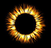 Round fire frame. Shining circle banner. Round fire frame. Fire eclipse fire or swirl Royalty Free Stock Image