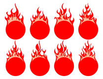 Round fire icon. Round simple fire icon on white background Stock Photography