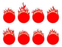 Round fire icon. Round simple fire icon on white background Stock Image