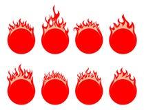 Round fire icon Stock Image