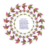 Round fish frame. Decorative vector background Royalty Free Stock Photos